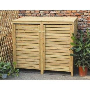 wooden double bin storage cupboard great for hiding away your outdoor bins backyard en 2018. Black Bedroom Furniture Sets. Home Design Ideas
