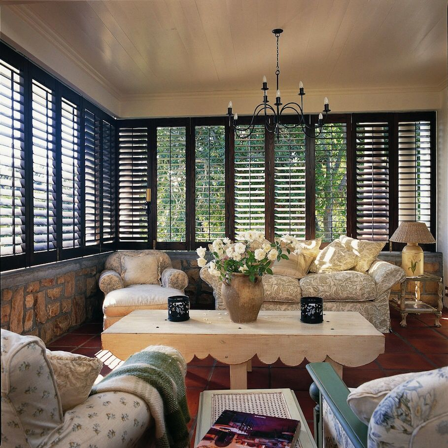 Dark wood shutters bring so much to the plate in any room