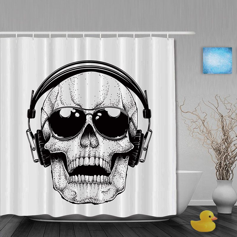 Rock Skull Decor Bathroom Shower Curtains Earphone Shower Curtain ...