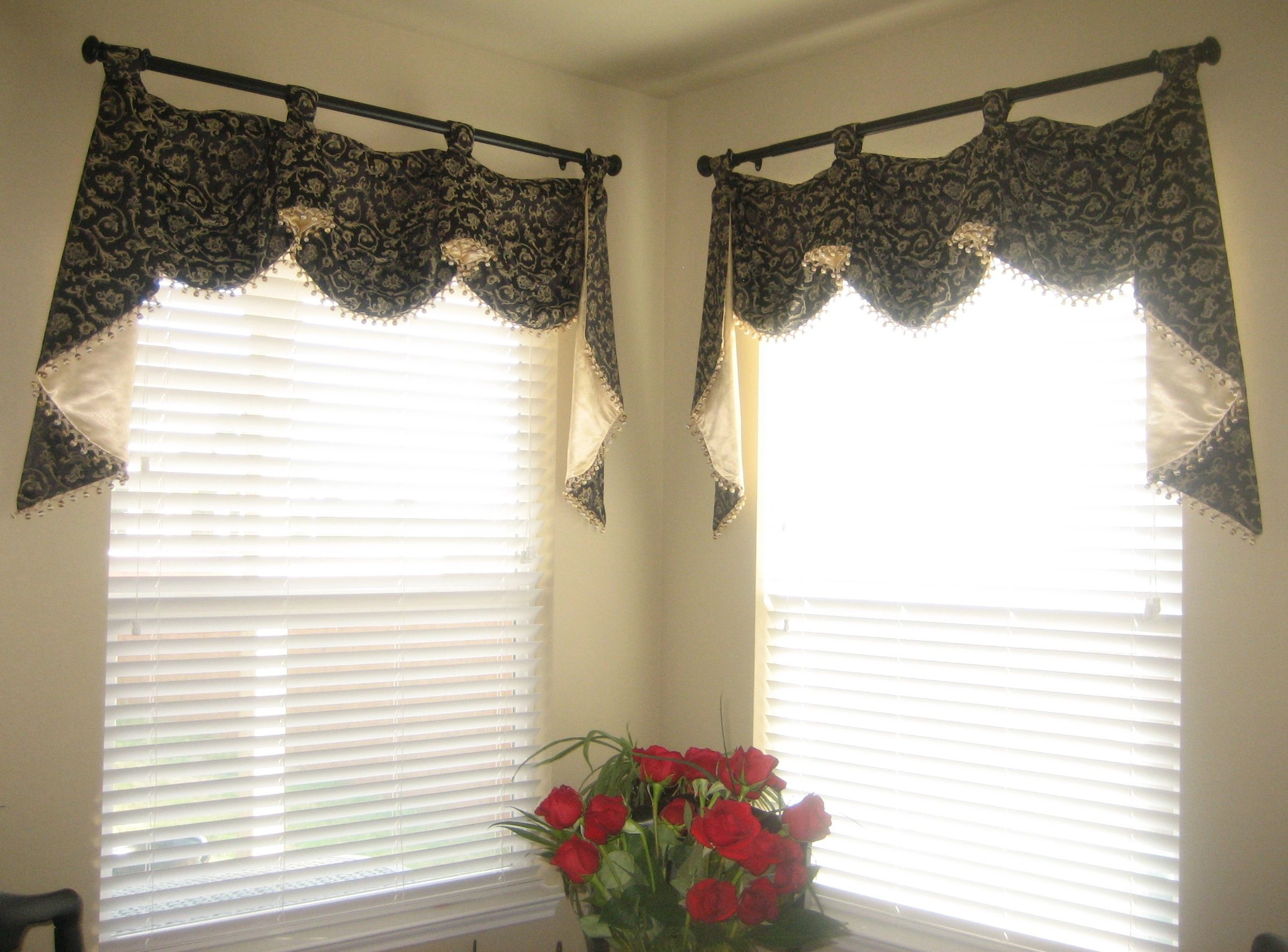 valances fan with trim combination pelmet lined valance blind and roman pin edge