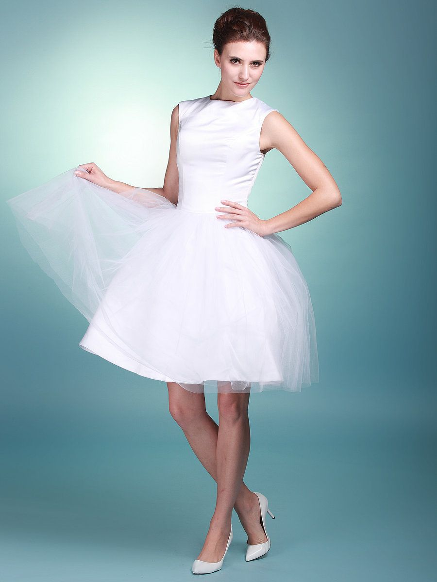 Boat Neck Satin and Tulle Wedding Gown. Cute style. Just not satin ...