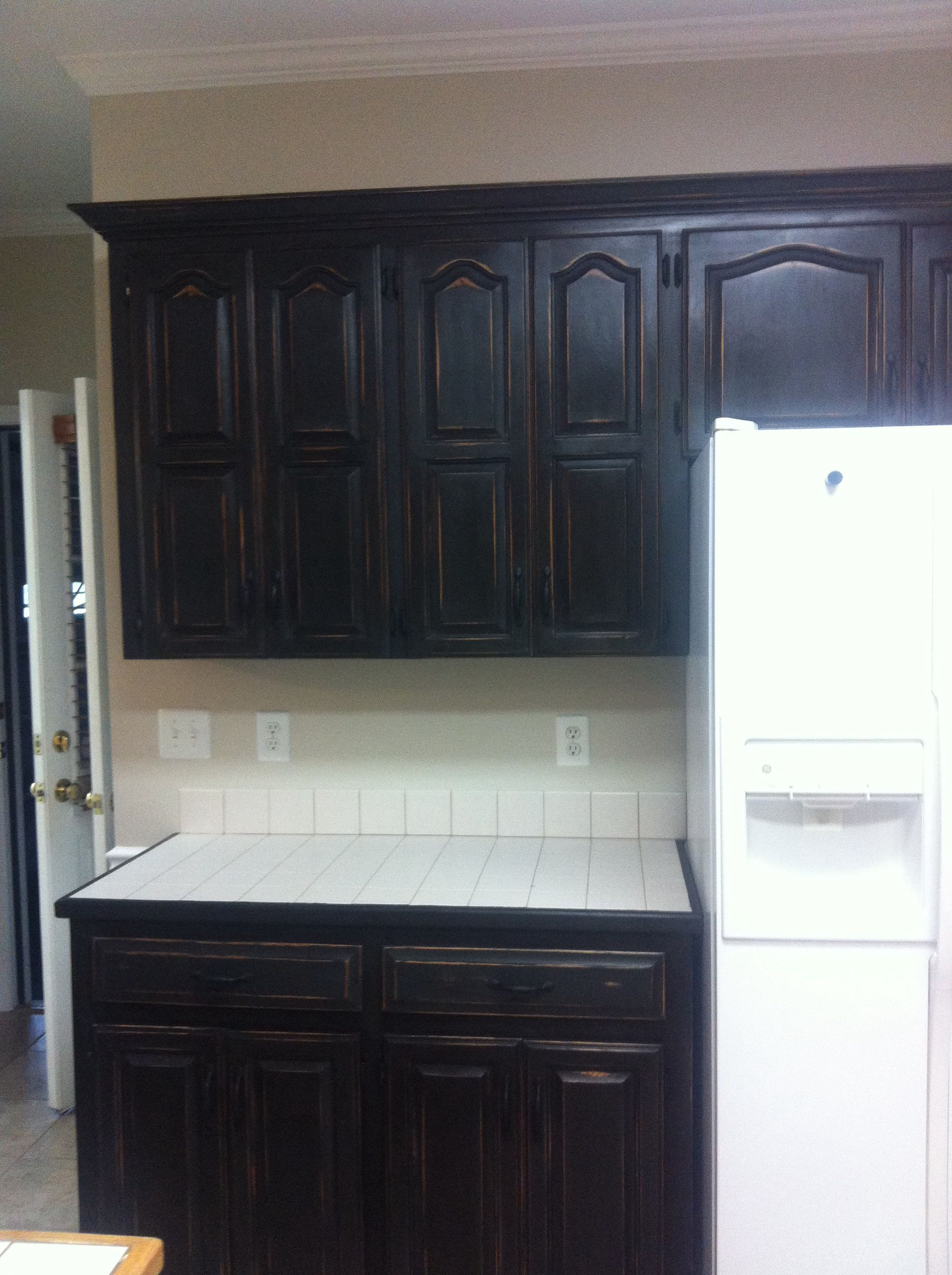 Refinished Honey Oak Cabinets With Annie Sloan Chalk Paint