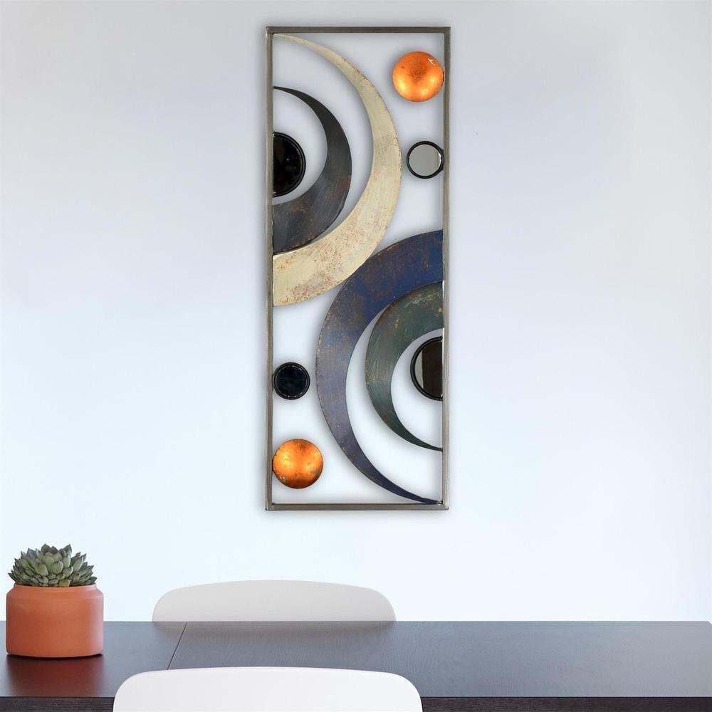 Wandbild Metallbild Halbkreise Kreise Wanddeko Wohnzimmer 28x74cm