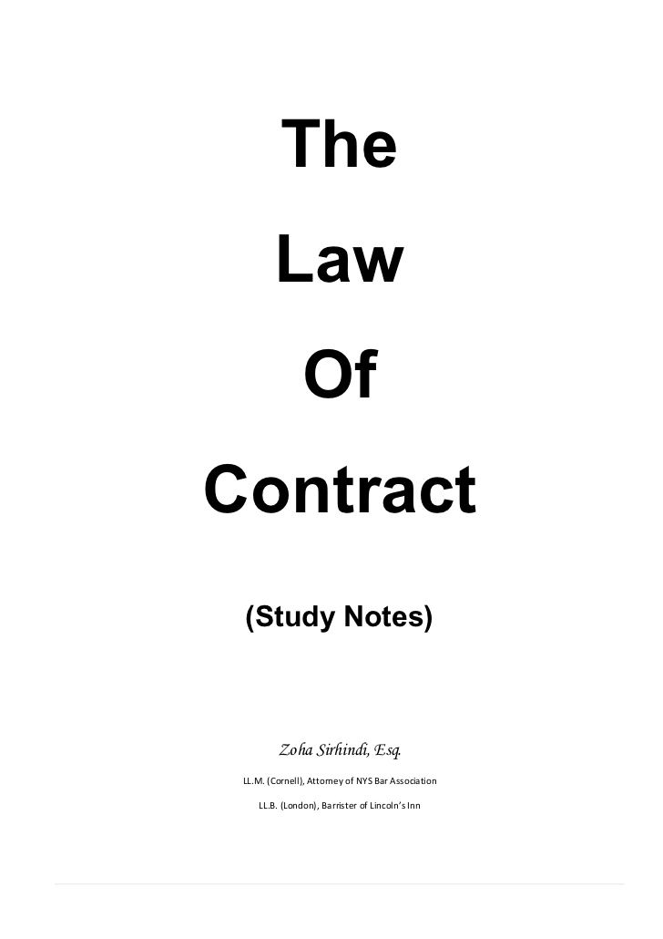 Study Notes Contract Law  Things To Wear    Study