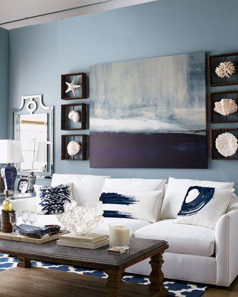 Navy And White Decor Seashell Design Livingroom Beach With