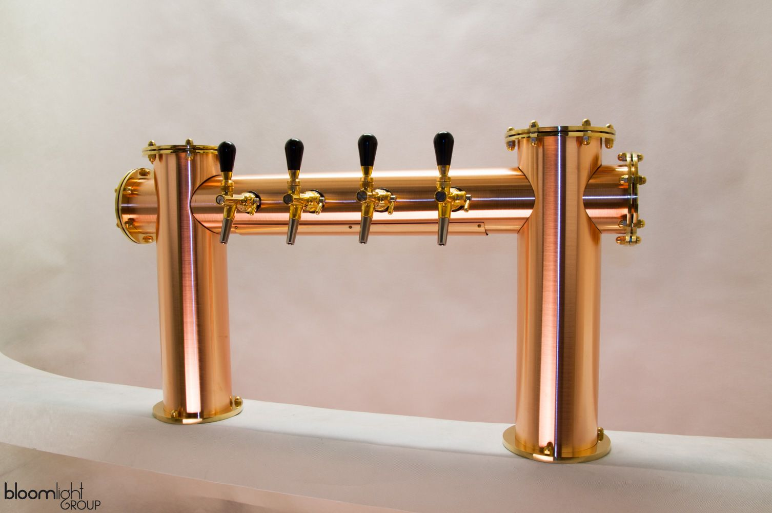 Brushed Copper Beer Tower With Brass Details Beer Tower Beer Taps Draft Beer Tower