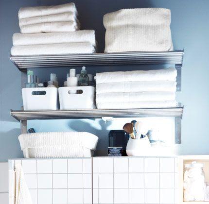 Ikea Bathroom Shelves For Towels Ikea Grundtal Wall Shelves For Bathroom With Towels Boxes And Bas Ikea Bathroom Shelves Ikea Bathroom Bathroom Wall Shelves