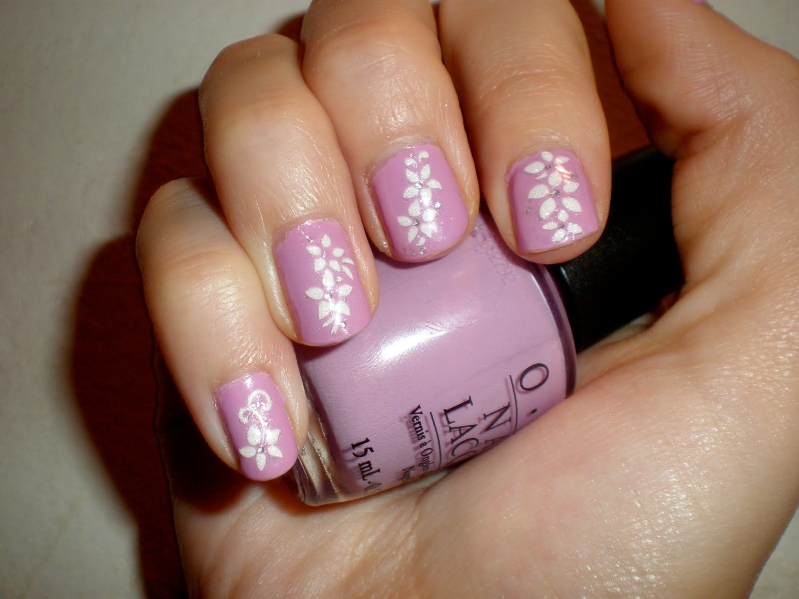 easy nail ideas purple flower easy nail polish designs nail ideas inspiration - Easy Nail Design Ideas