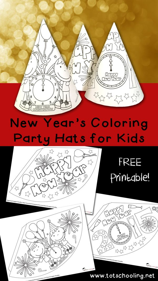 new years coloring party hats free printable