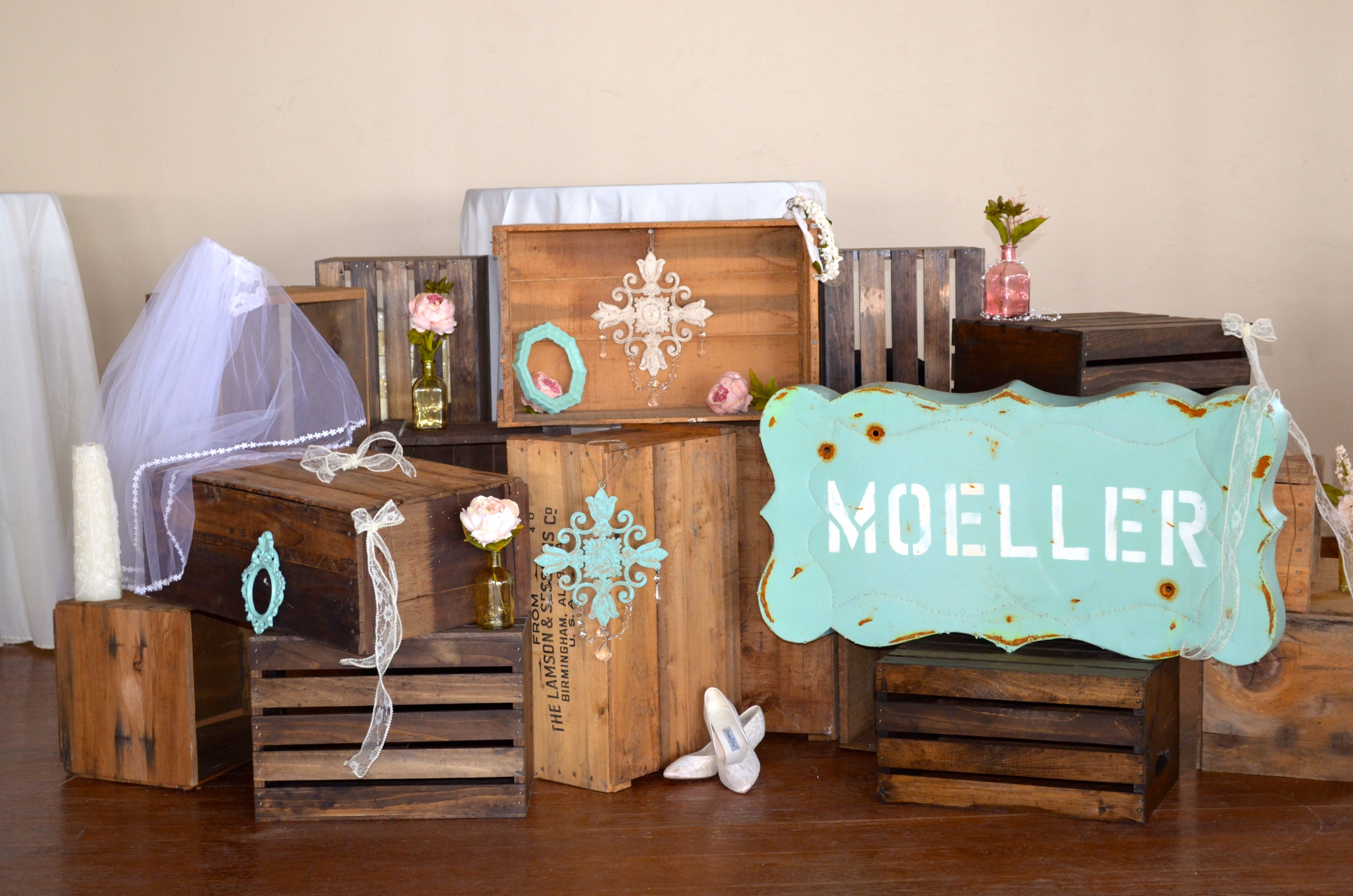 Wooden Crates- cake display-Wedding-Rustic-Shabby chic-cake stand-DIY Wooden Crates By Shelly's Shabby's