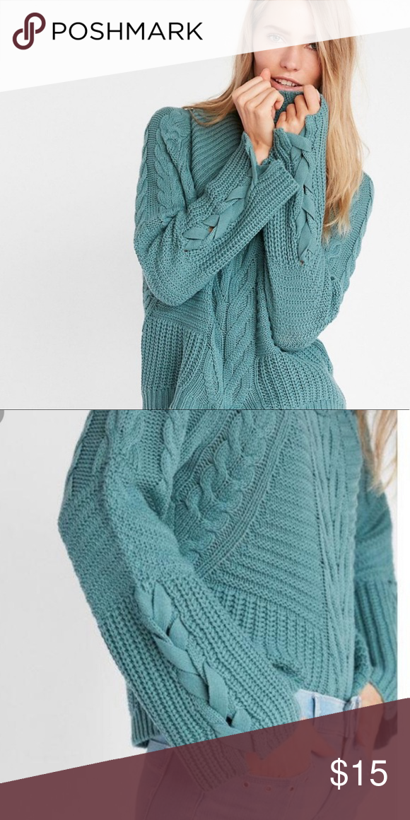 Express Cowl Neck Sweater Cowl Neck Sweater Could Be Worn Off Shoulder Or As Is Color Is Teal Very Prett Cowl Neck Sweater Clothes Design Cable Knit Sweaters