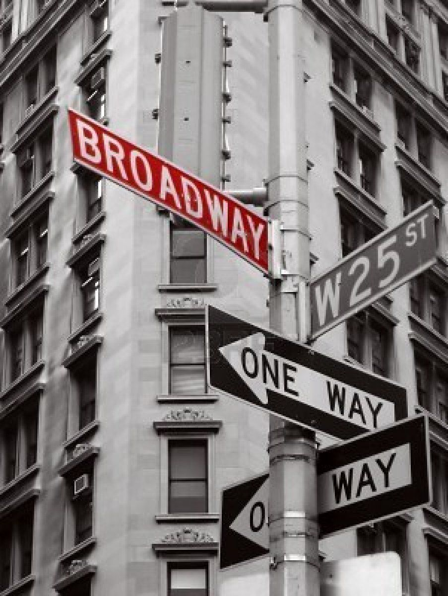 4143211dc00 Red broadway sign in a black and white photo of new york city