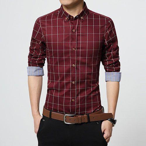 Men Clothes Slim Fit Men Long Sleeve Shirt Men Plaid Cotton Casual ...