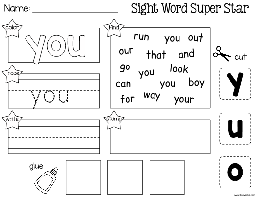 This is a worksheet for learning the sight word YOU ...
