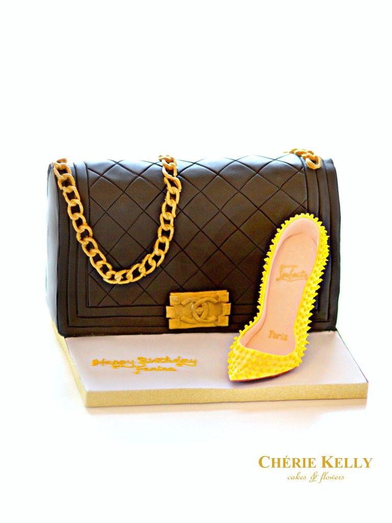 53aa060160a9 Chanel Boy Bag Handbag Cake with Yellow Christian Louboutin Spikes High  Heel Shoe Cherie Kelly London