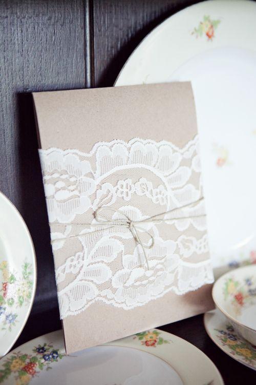 lace twine cover invite