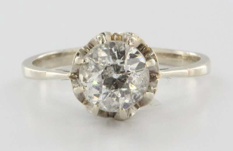 Antique Art Deco 14k White Gold 1.20ctw Diamond Engagement Solitaire Ring