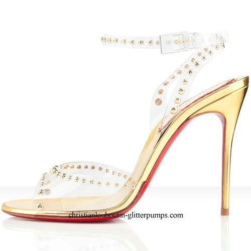 Christian Louboutin Christian Louboutin Icone A Clous 100mm Pvc Sandals Gold Gold Heels Fashion Heels Fashion High Heels Heels
