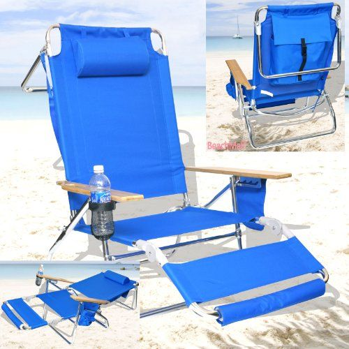 Deluxe 3 in 1 Beach Chair / Lounger w/ Drink Holder and Large