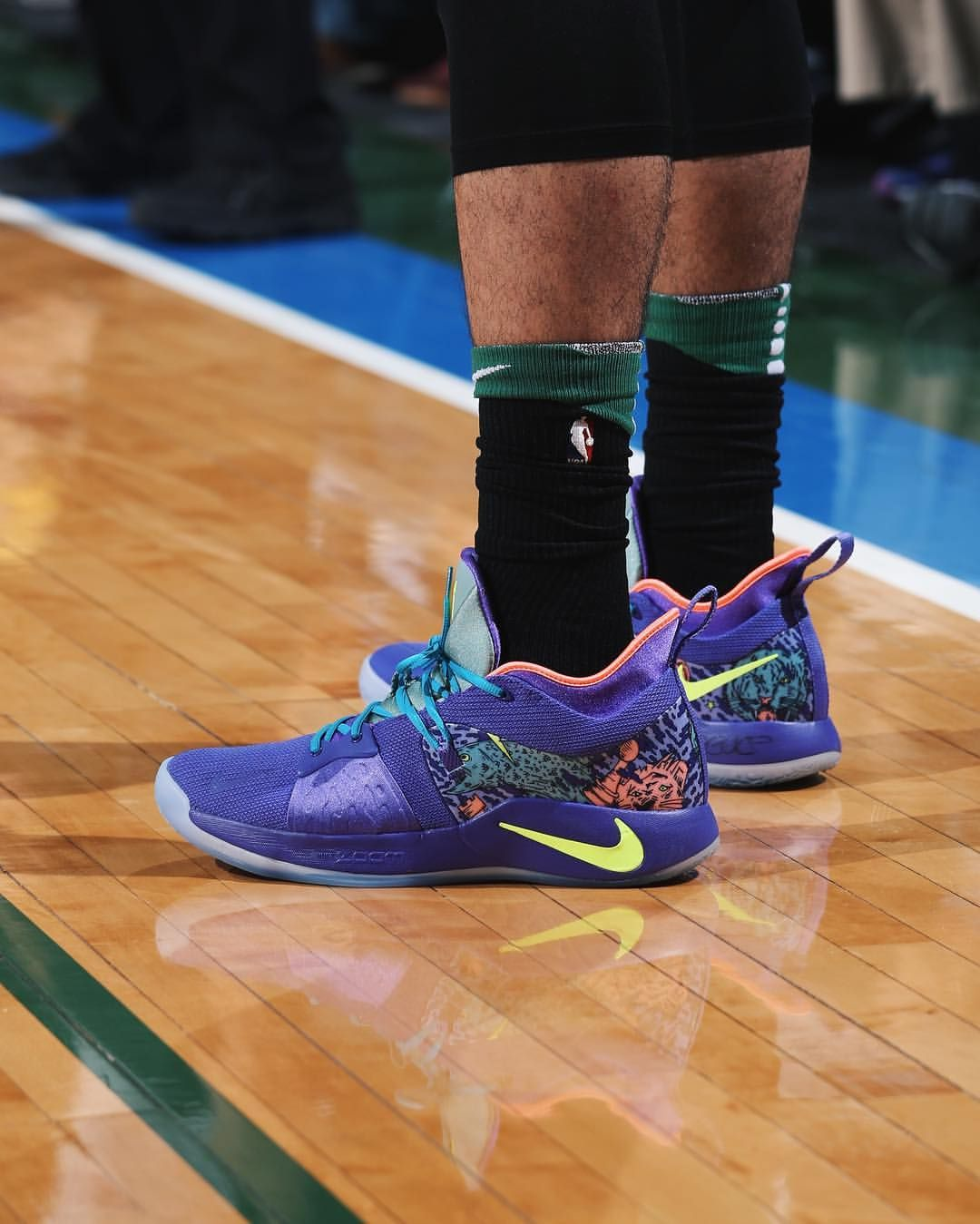 "new arrival ae58f c4e7d  JayTatum0 wearing the Nike PG2 ""Mamba Mentality"" against Milwaukee tonight."