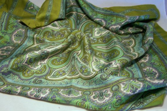 Vintage Liberty London Silk Scarf Olive Green Paisley Design 26 Inches Square Mid Century Accessory 1115DG