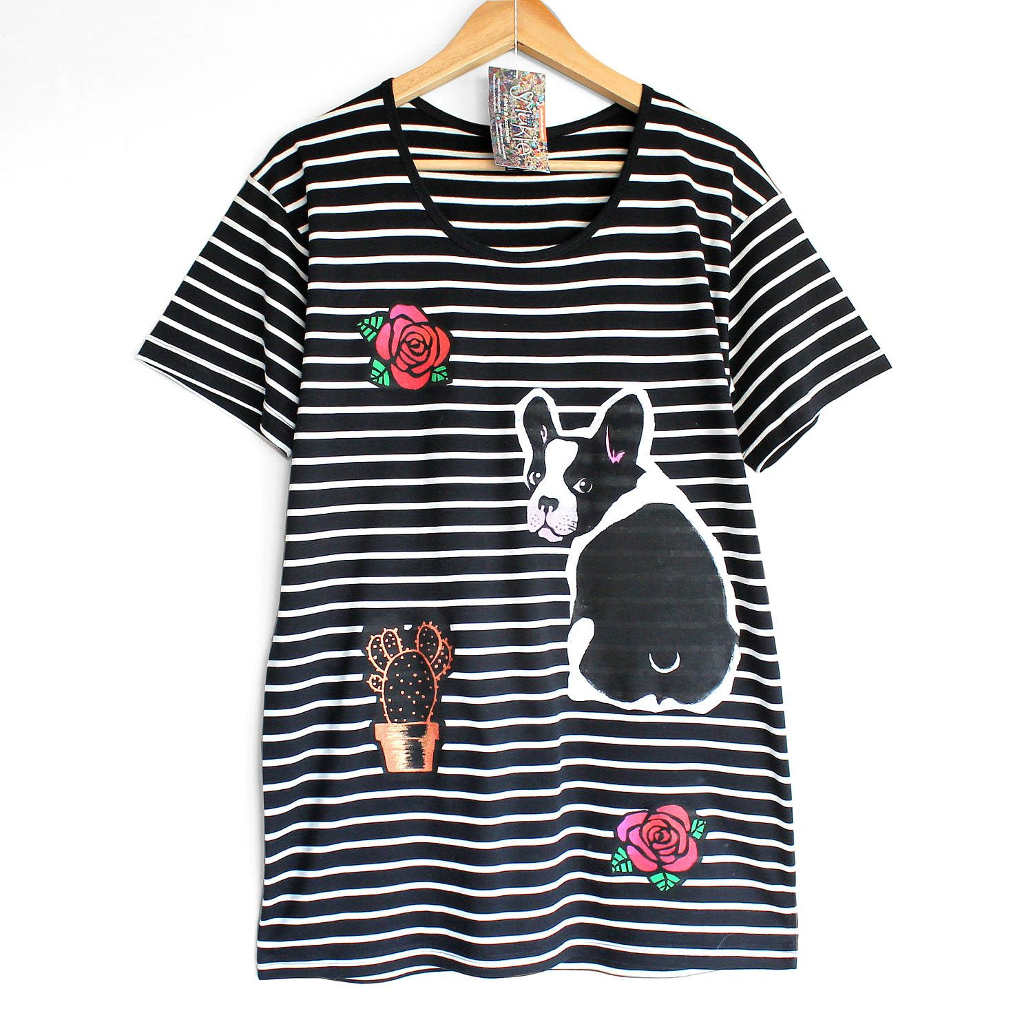 Black t shirt with white stripes - Dogs And Roses T Shirt Black T Shirt With White Stripes Dog T Shirt French Bulldog T Shirt Dog Persons T Shirt