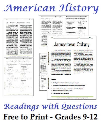 list of american history readings worksheets for high school students free to print - School Worksheets To Print