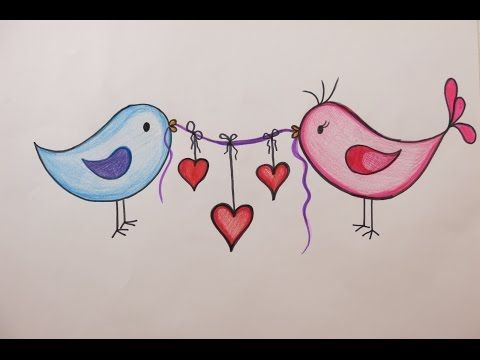 Valentine 39 S Day Diy Drawing Love Birds On Valentine 39 S Day Youtube Valentine Drawing Love Birds Drawing Bird Painting Diy