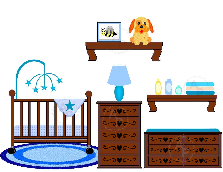 baby boy nursery crib changing table digital clip art set clipart rh pinterest com  baby boy crib clipart