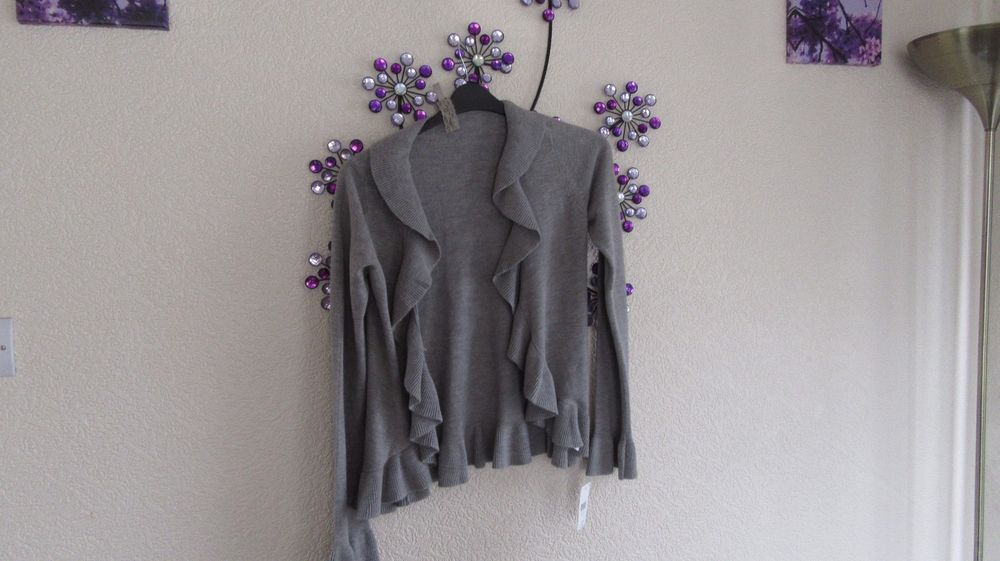 EVIE GREY WATERFALL FRONT CARDIGAN JACKET SIZE  10-12    38-40 #evie #CARDIGAN