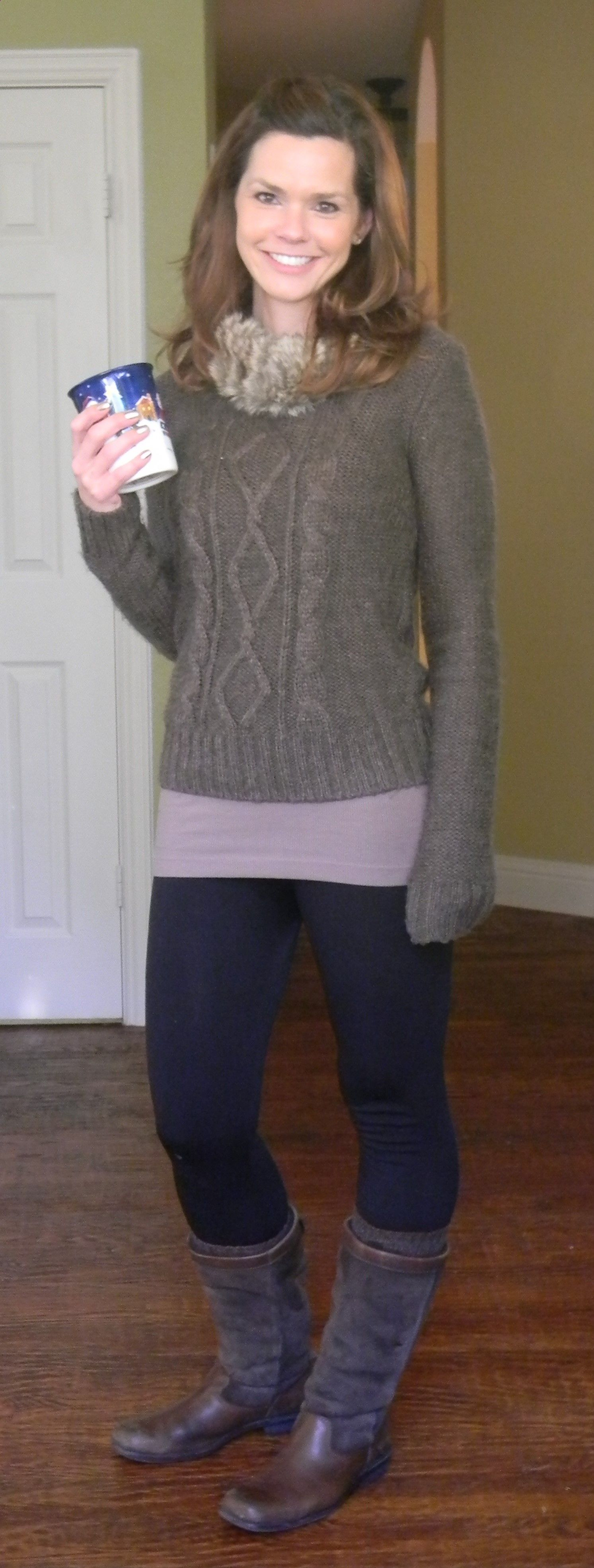 Get cozy with leggings, a long tank and sweater ...
