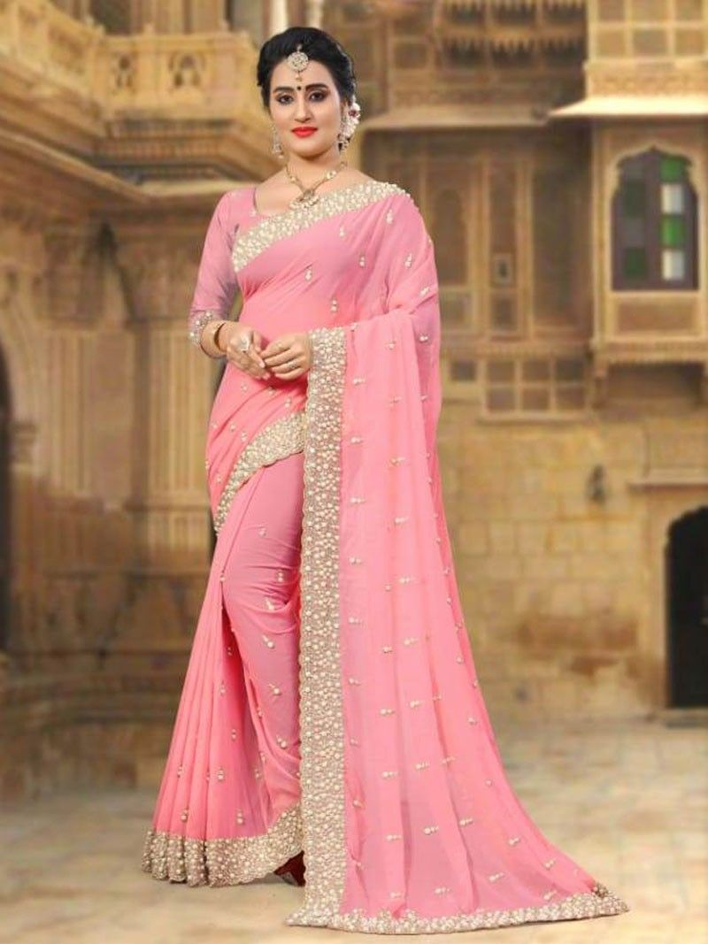 704fd25222217a New Baby Pink Color Designer Women's Party Wear Pearl Embroidered Saree  with Blouse