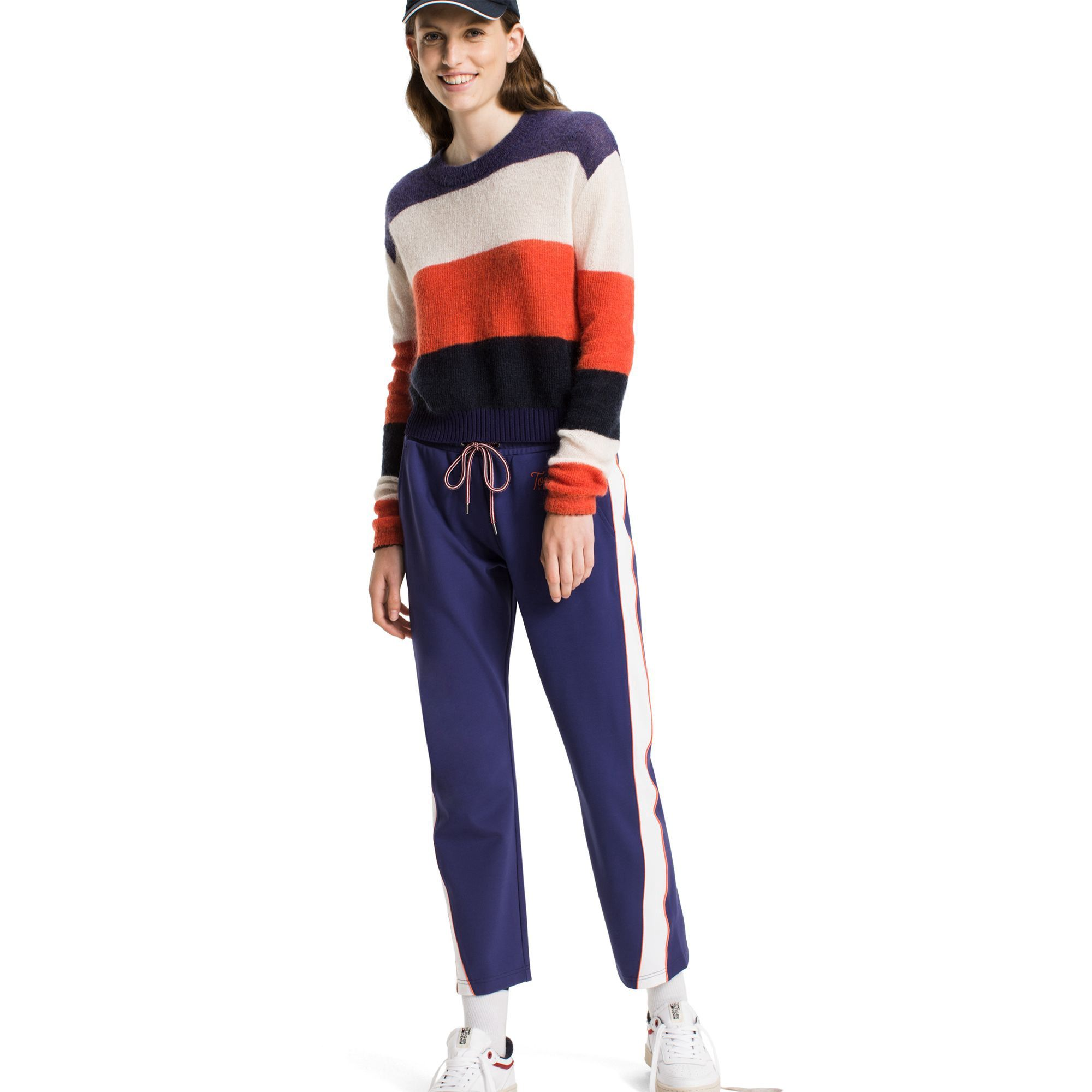 Tommy Hilfiger Cropped Striped Sweater Bright White