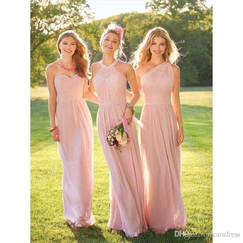 Shoulder Elegant 2017 Blush Pink Bridesmaid Dresses One