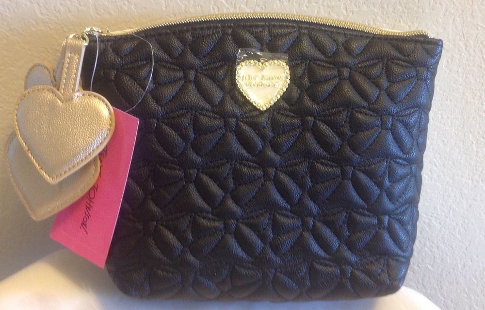 Betsey Johnson COSMO Pouch Quilted Bows Cosmetic Bag BM18730 #BetseyJohnson