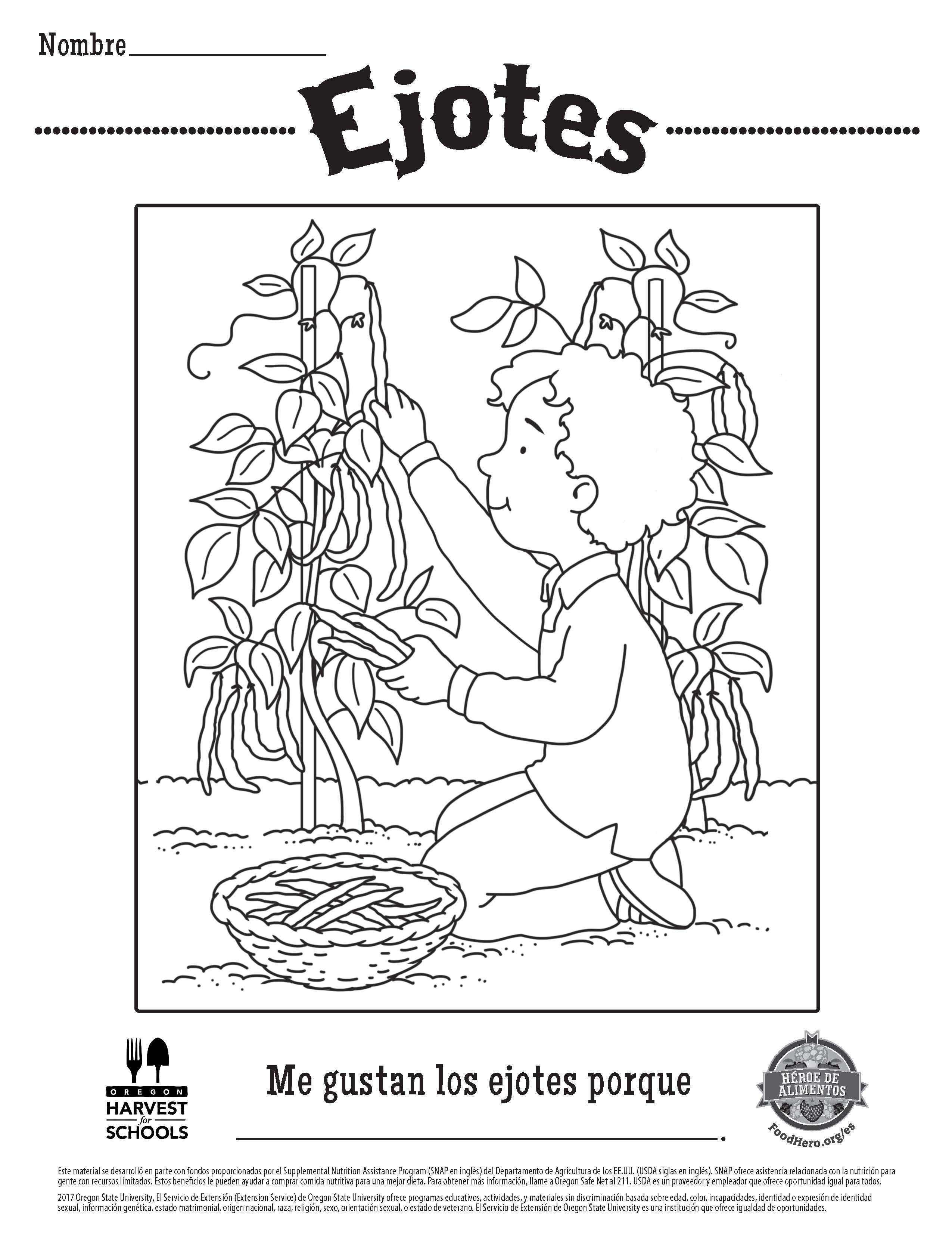 Children\'s Free Printable Food Hero Green Beans Coloring Sheet in ...