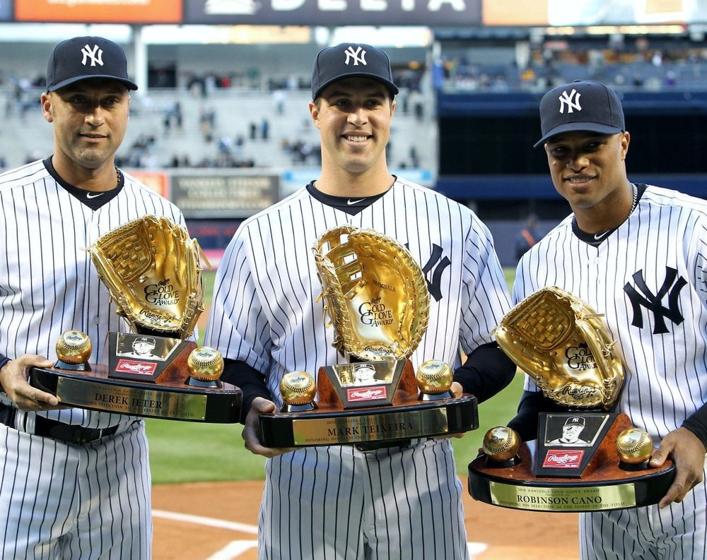Derek Jeter Robinson Cano Mark Tiexeira Yankees Gold Glove Winners 8x10 Derek Jeter New York Yankees Yankees