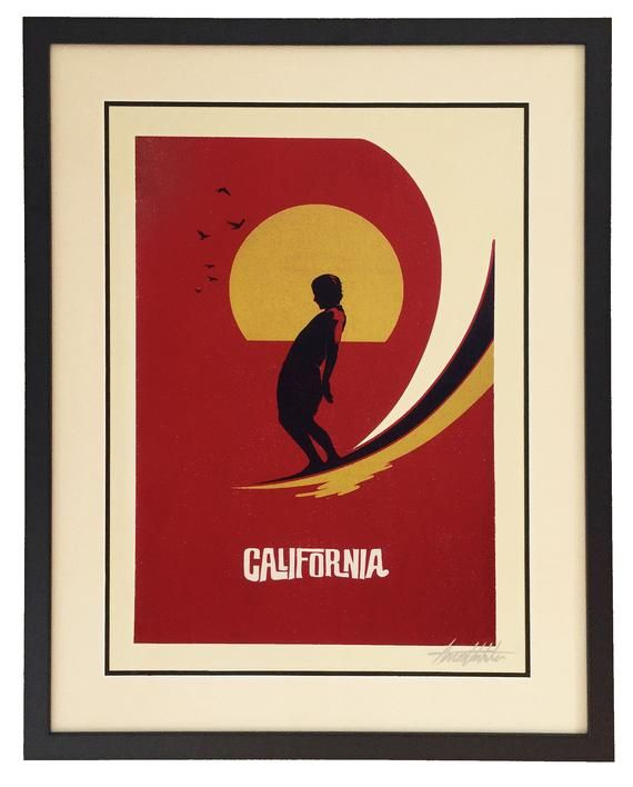 California Dreaming Retro Surf Poster Etsy Surf Poster Retro Surf Surf Art