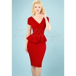 Photo of 1950s Maven Pencil Dress in Lipstick Red Collectif – 1950s Maven Ble …