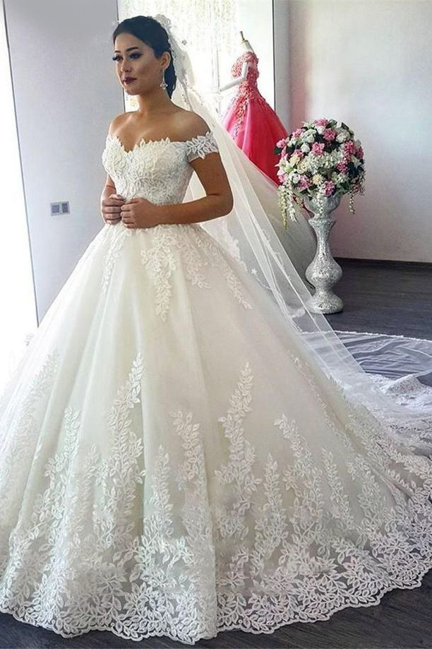 2019 Off The Shoulder A Line Vestidos de novia Tulle con apliques Sweep Train US$ 299.00 VTOPCLFK9QH - VestidoBello.com