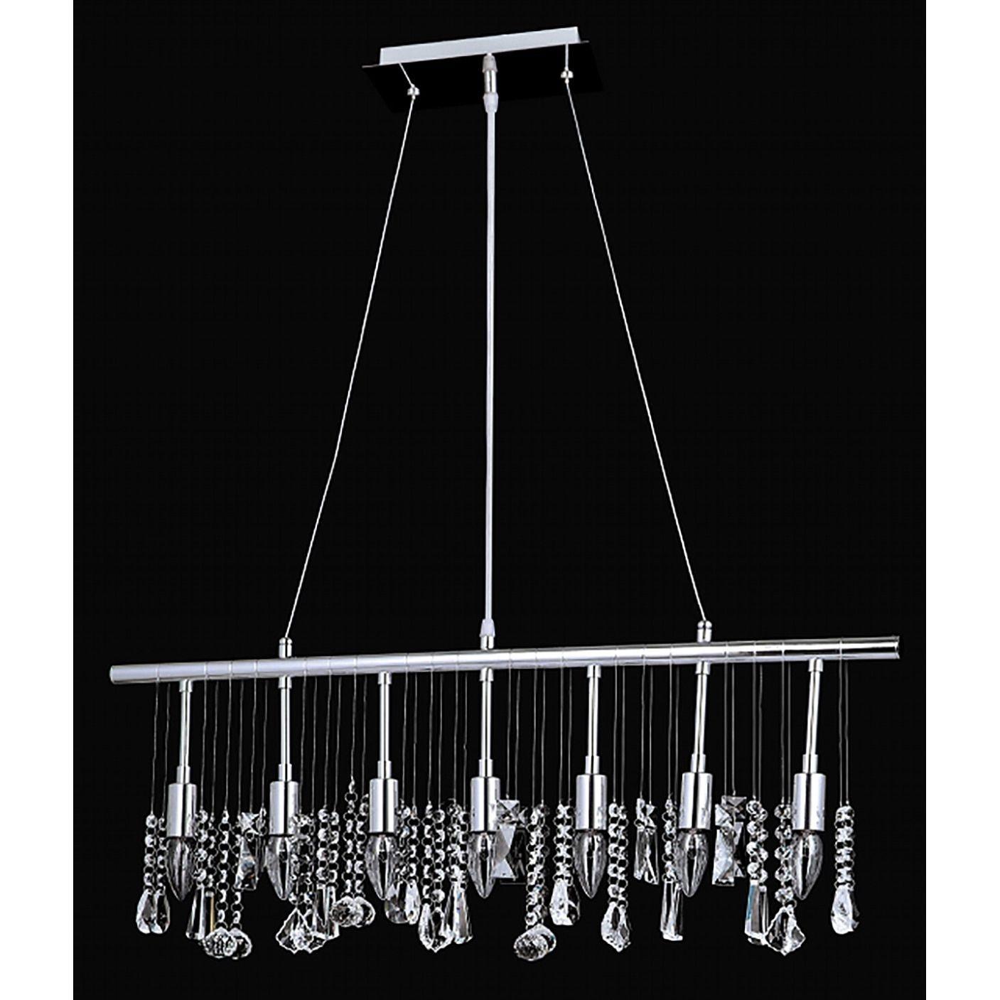 Chorus Line Collection 8015-300640L7 Chrome-finish Steel/Crystal 7-light Chandelier (Chrome (Grey))