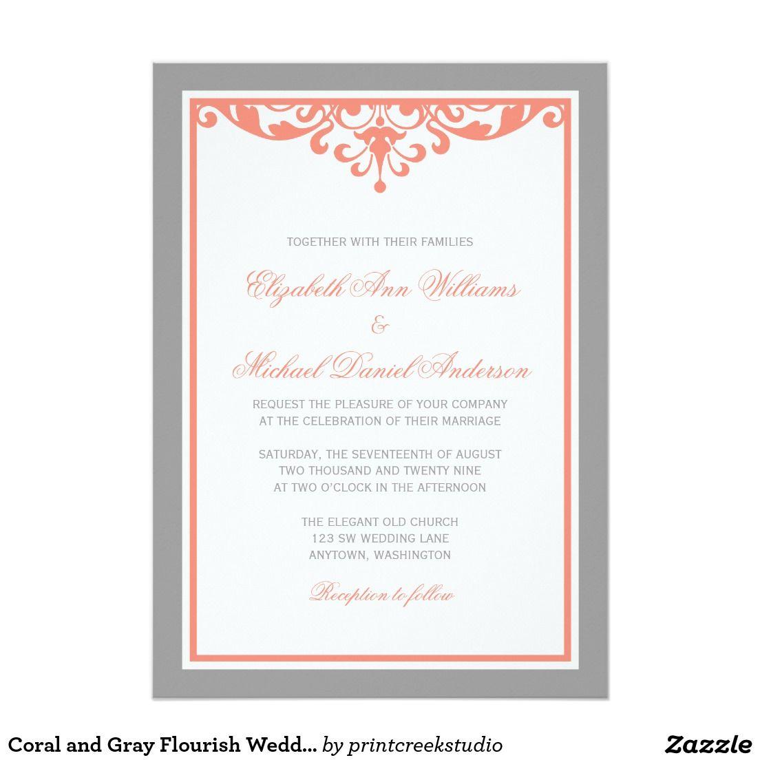 Coral and Gray Flourish Wedding Invitations | FORMAL WEDDING ...