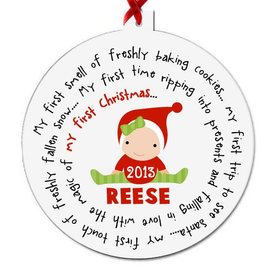 Shower Gift tagyoureitjewelry Birth Details Personalized Baby/'s First Christmas ornament Baby Stats,Statistics Baby Clothes Baby Gift
