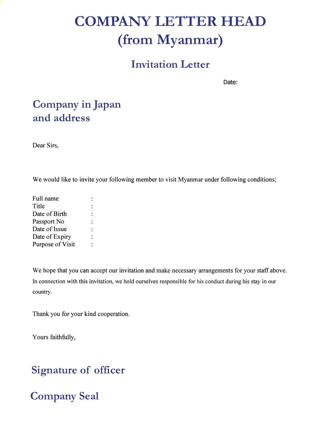 Business visa invitation letter template format for meeting format business visa invitation letter template format for meeting flashek Gallery