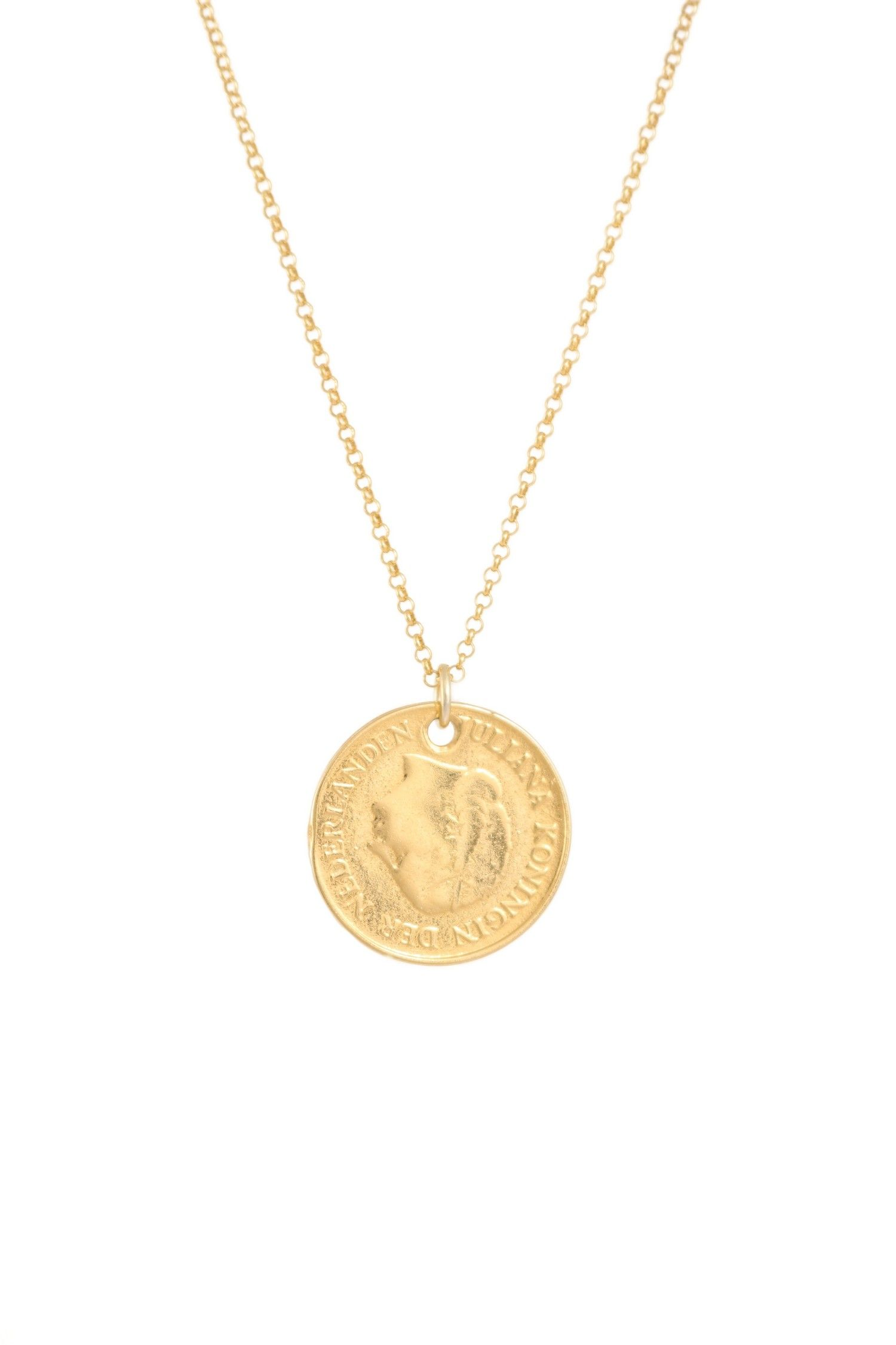 Moanina Violetta Coin Necklace 925 Sterling Silver Gold Plated
