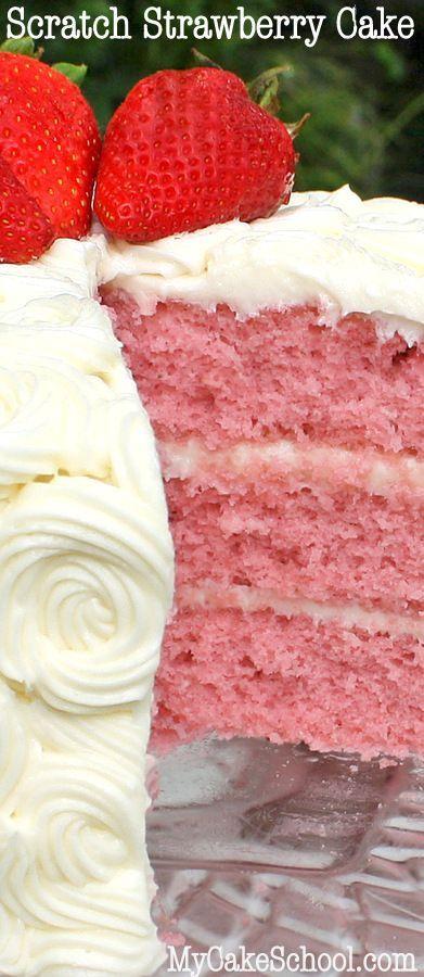 Strawberry Cake from Scratch #cakedecoratingvideos
