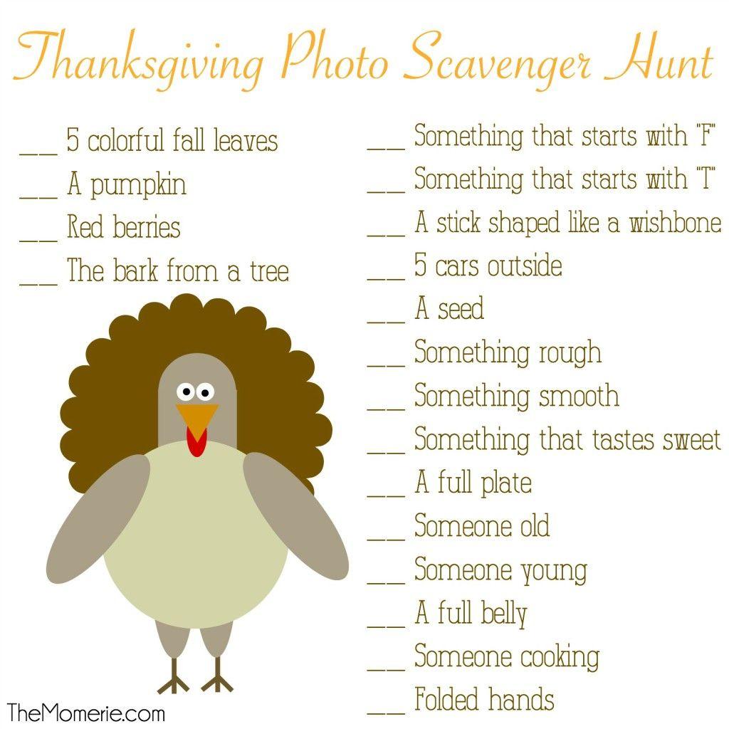 Thanksgiving Photo Scavenger Hunt