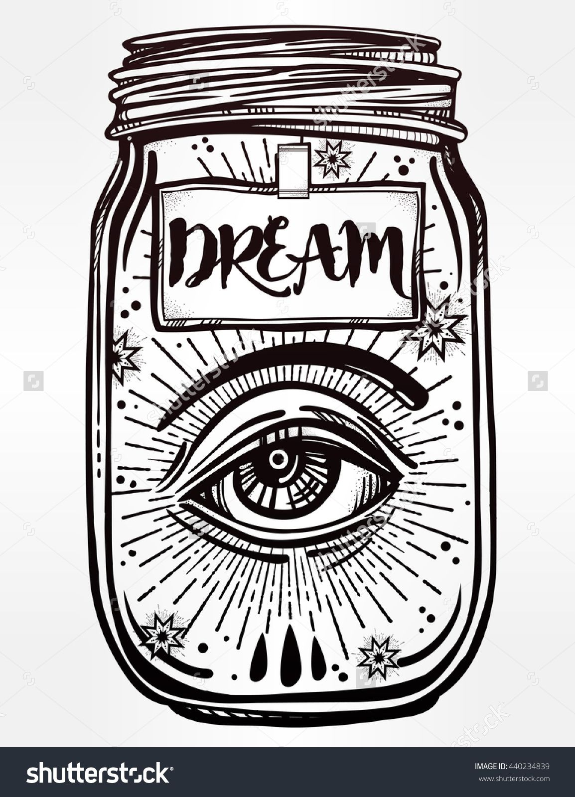 Hand drawn romantic flesh art of a wish jar with mystic eye tattoo design mystic magic symbol for your use coloring book page label has a message to dream on it buycottarizona