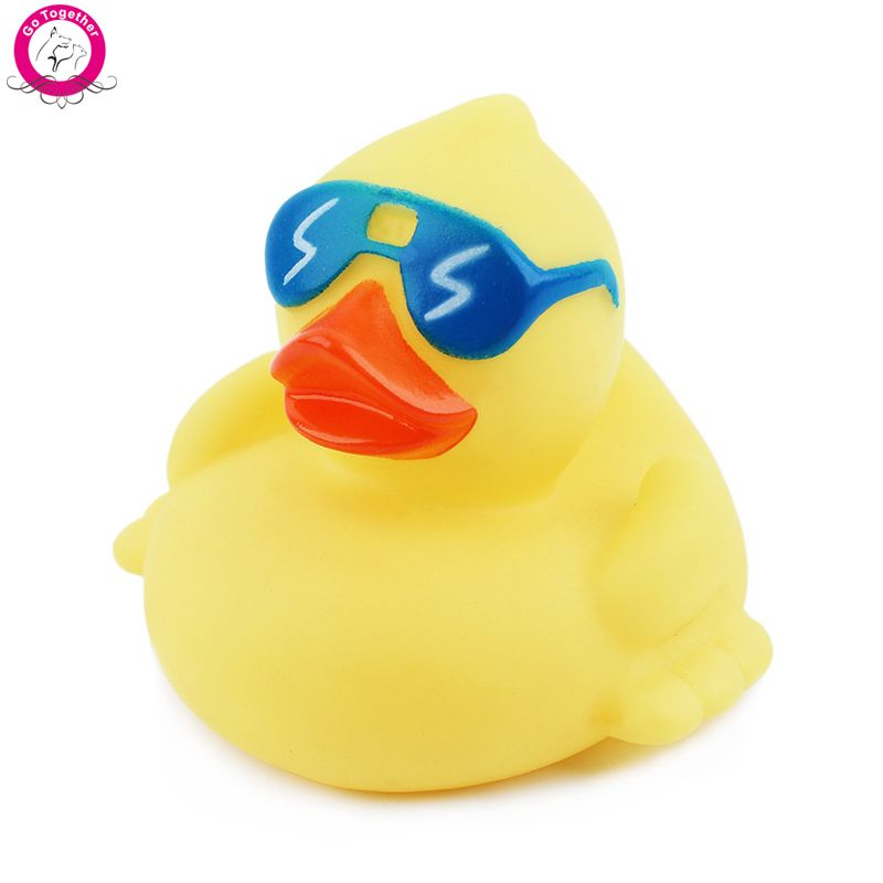 Soft Rubber Duck Dog Toy With Squeaker And Sunglasses Dog Chews