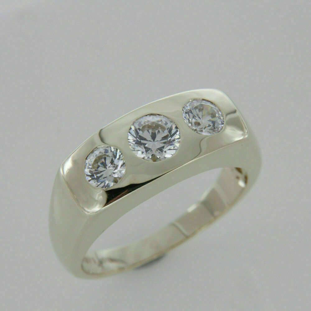 1.50 Ct Round Cut VVS1 Diamond Three Stone Engagement Ring 14K White Gold Finish